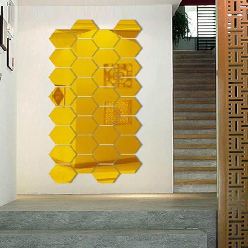 Three dimensional hexagonal 7 Piece Wall Decoration Acrylic Mirrored ...