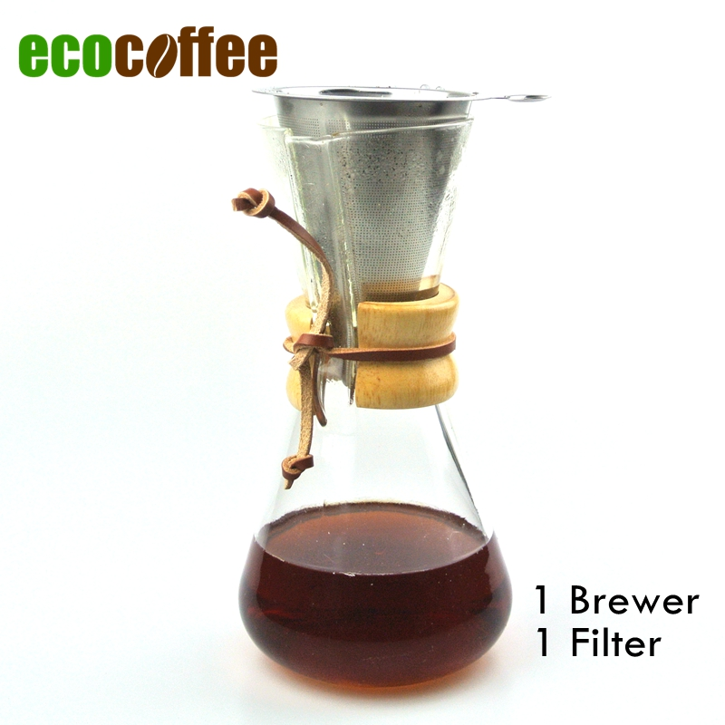 New Arrival FREE SHIPPING  CHEMEX Style Coffee Brewer 1-3 Cups Counted  Espresso Coffee Makers with Metal Filter
