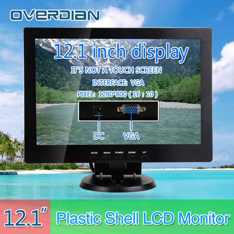 12VGA Connector Desktop Monitor 1280*800 Song Machine Cash Register Lcd Non-Touch IPS ScreenPlastic Shell Monitor display 10 4 vga hdmi connector monitor 1024 768 song machine cash register square screen lcd monitor display non touch screen