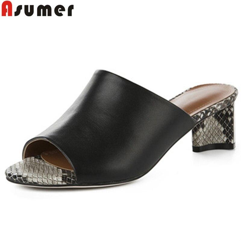 ASUMER كبير حجم 34 40 أزياء الصيف أحذية امرأة زقزقة اصبع القدم الضحلة حقيقية أحذية من الجلد مربع عالية الكعب الأحذية الصنادل النساء-في الكعب المتوسط من أحذية على  مجموعة 1