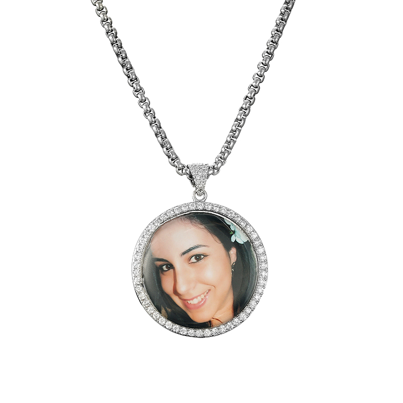 GUCY Fashion Custom Made Photo Roundness Solid Back Pendant
