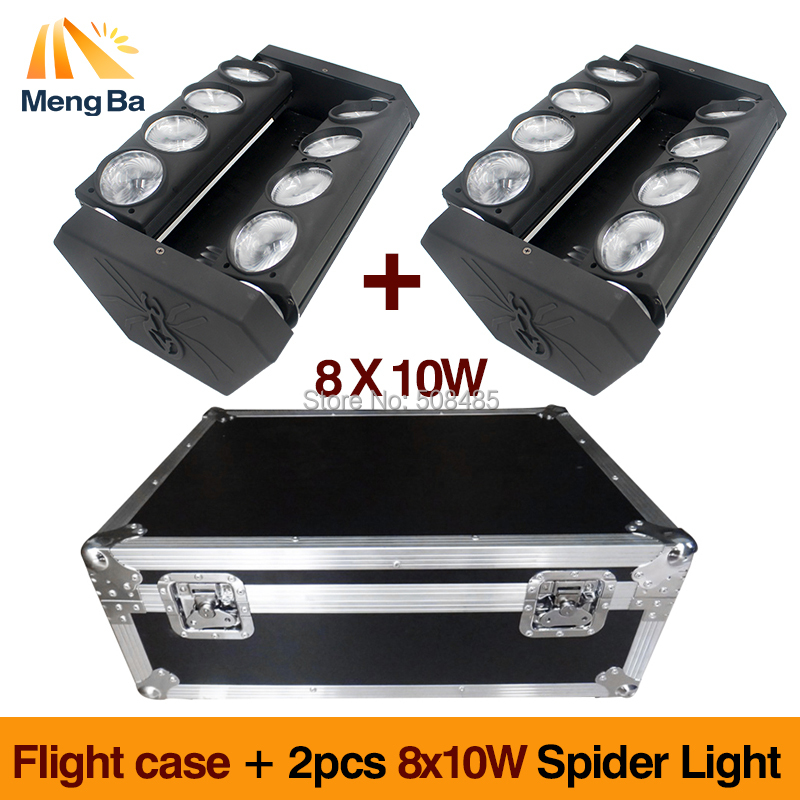 flight case +2pcs 8X10W RGBW 4in1 LED Spider B Light DMX512 Moving Head Light led Beam light club dj disco lighting KTV lamps 9 moving head laser spider light green color 50mw 9 triangle spider moving head light laser dj light disco club event