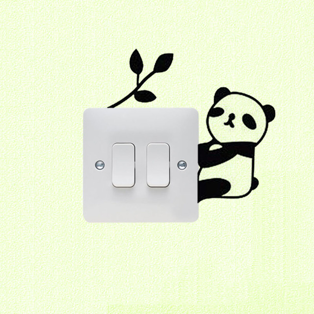 Panda Und Bambus Cartoon Schwarz Vinyl Schalter Aufkleber Wohnkultur