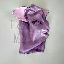 Прозрачный фиолетовый цветной латекс маска секс животное кошка открытый глаза и ноздри с задней молнией для женщин