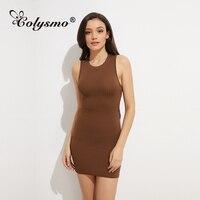 Colysmo 2018 새로운 패션 여성 여름 드레스 민소매 섹시 베어 다시 미니 드레스 여성 브라운 꽉 Vestidos 여자 끊기