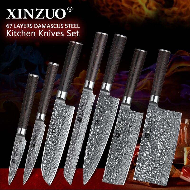 XINZUO 7 sztuk zestaw nóż kuchenny ostrza ze stali nierdzewnej damaszek VG10 szefa kuchni zestaw noży narzędzie Santoku narzędzia kuchenne narzędzia kuchenne w Zestawy noży od Dom i ogród na  Grupa 1