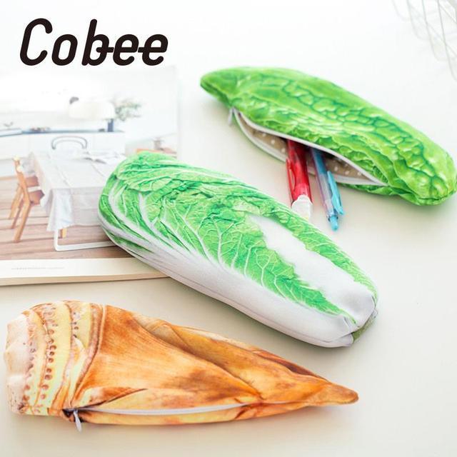 Cobee Забавные милые разноцветные моделирования овощи рыба Карандаш Pen дело Box мешок детей студентов Kawaii Подарки школьные принадлежности