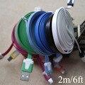 2 M/6ft Micro USB 2.0 Data Sync Cable de Carga Cables para LG Lenovo Nokia HTC Samsuang Galaxy Colorido fideos de Encaje de Alambre