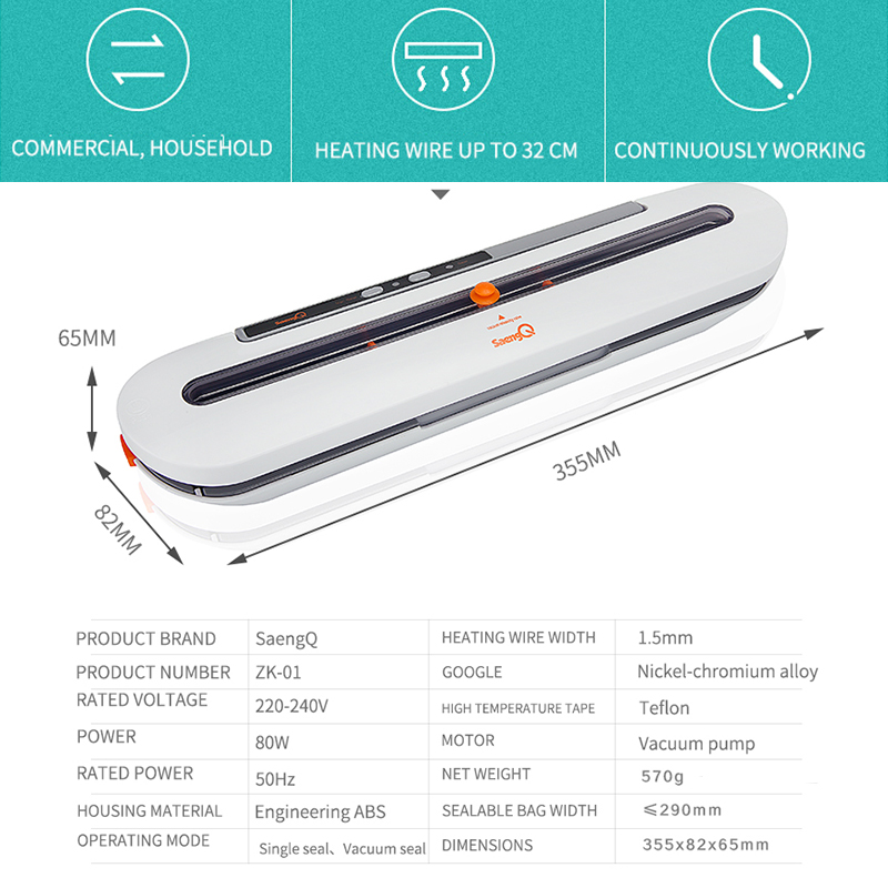 saengQ Best Vacuum Food Sealer 220V/110V Automatic Commercial Household Food Vacuum Sealer Packaging Machine Include 10Pcs Bags 5