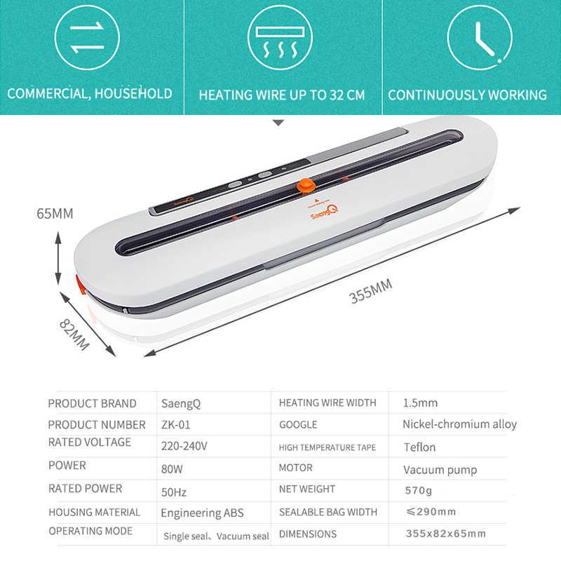 SaengQ-najlepsza spożywcza zgrzewarka próżniowa, 220 V/110 V automatyczne, komercyjne urządzenie domowe do szczelnego pakowania żywności, pakowarka zawiera 10 szt. worków
