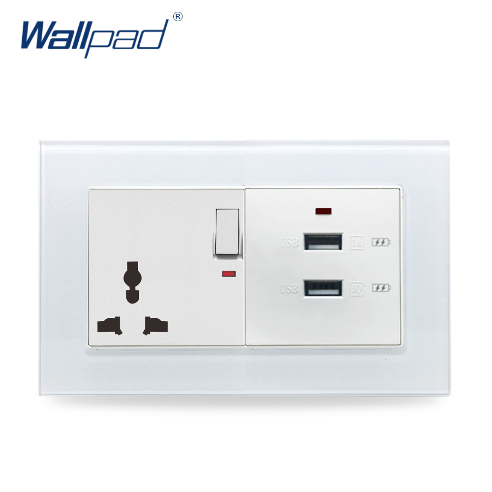 Universal Socket and USB Wallpad Crystal Glass Panel 110V-250V 146*86mm 13A UK Universal Socket with Double 3.0 USB Wall Charger uk socket wallpad crystal glass panel 110v 250v switched 13a uk british standard electrical wall socket power outlet uk with led
