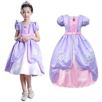 27e707ccec YOFEEL niñas Sofía Cosplay vestido de la princesa Sophia traje de los niños  de manga Puff bordado vestido de bola de Halloween los niños vestidos de  fiesta