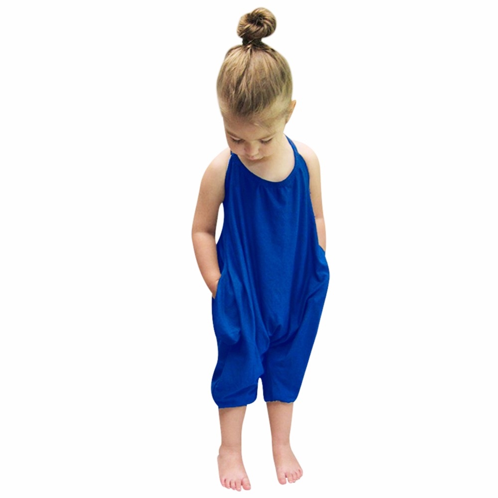 1022e4ef1599 Baby Girl Summer Solid Blue Kids Strap Rompers Jumpsuit Harem Pants ...