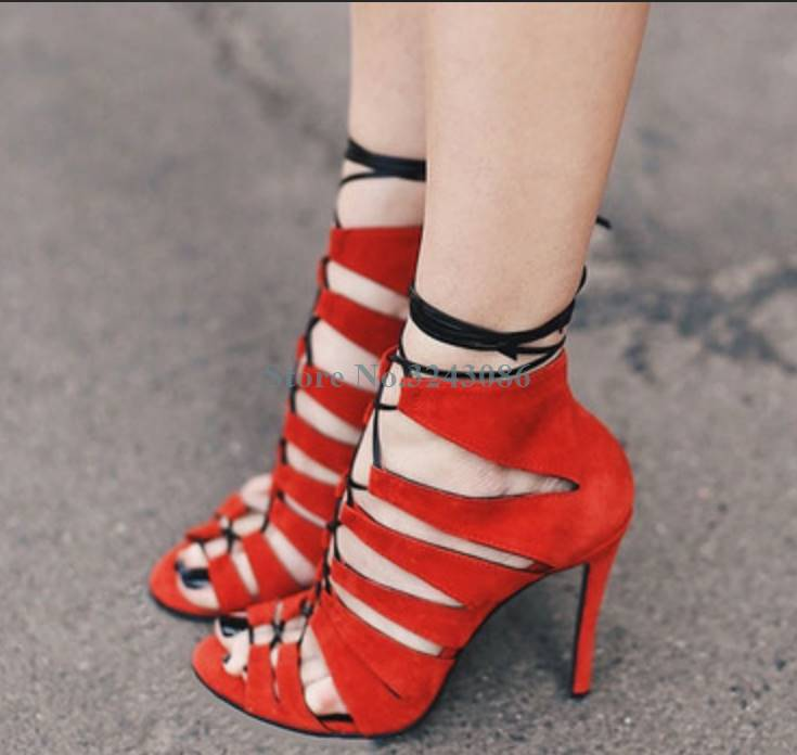 Red Faux Suede Hollow Out Thin High Heel Sandals Peep Toe Cross Tied Ankle Strap Sandals Mature Sexy Gladiator Shoes Casual ShoeRed Faux Suede Hollow Out Thin High Heel Sandals Peep Toe Cross Tied Ankle Strap Sandals Mature Sexy Gladiator Shoes Casual Shoe