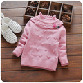 autumn winter baby girls sweater infant girls clothes high collar kids party outfits flower cute bow children knitting sweaters