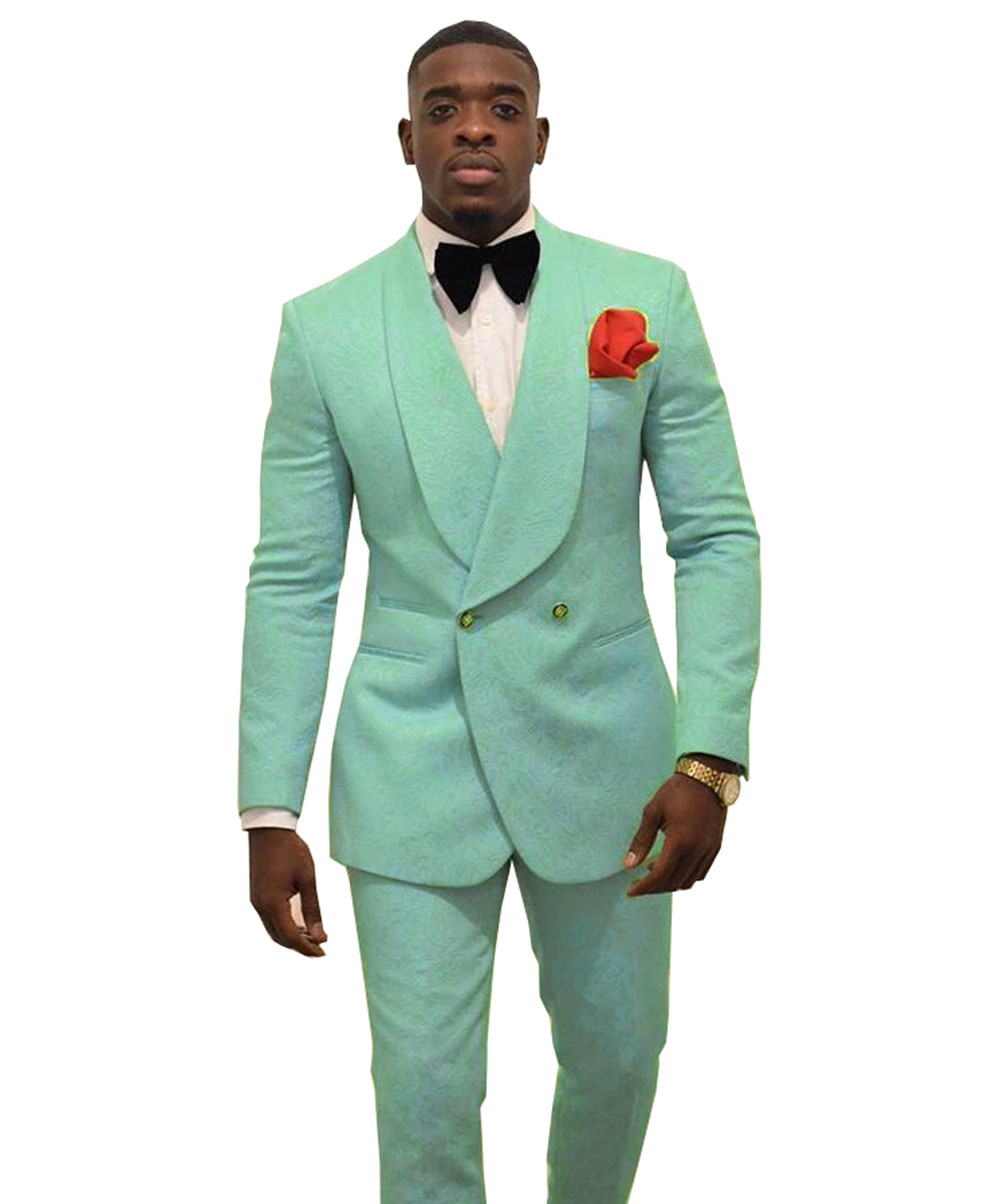 Fashion Mint Green Men's Patterned Suit Slim Fit 2 Pieces Double-breasted Groomsmen Tuxedos Blazers For Wedding(Blazer+Pants)