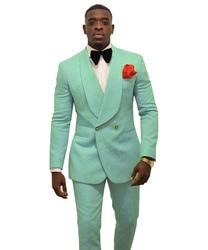 Fashion Mintgroen mannen Patroon Pak Slim Fit 2 Stuks Double-Breasted Bruidsjonkers Smokings Blazers Voor Bruiloft (Blazer + broek)