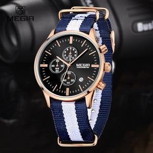 Image 5 - Мужские кварцевые часы с хронографом MEGIR, повседневные военные водонепроницаемые светящиеся наручные часы с холщовым ремешком, 2011