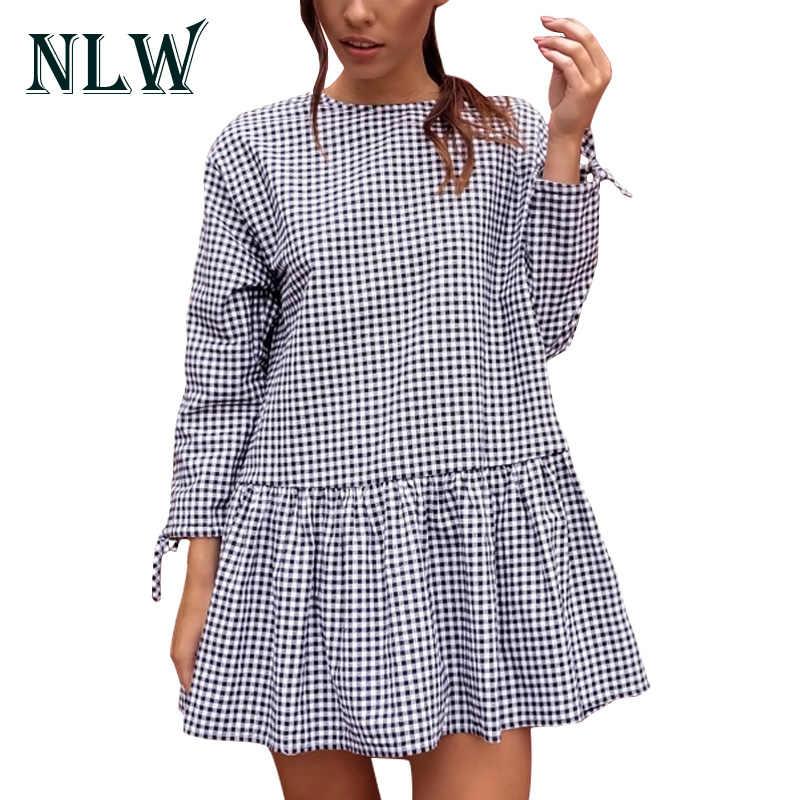 NLW кружевное женское платье с длинными рукавами, клетчатое платье с круглым вырезом, короткое приталенное платье 2017, Осенние повседневные платья, вечерние пляжные платья