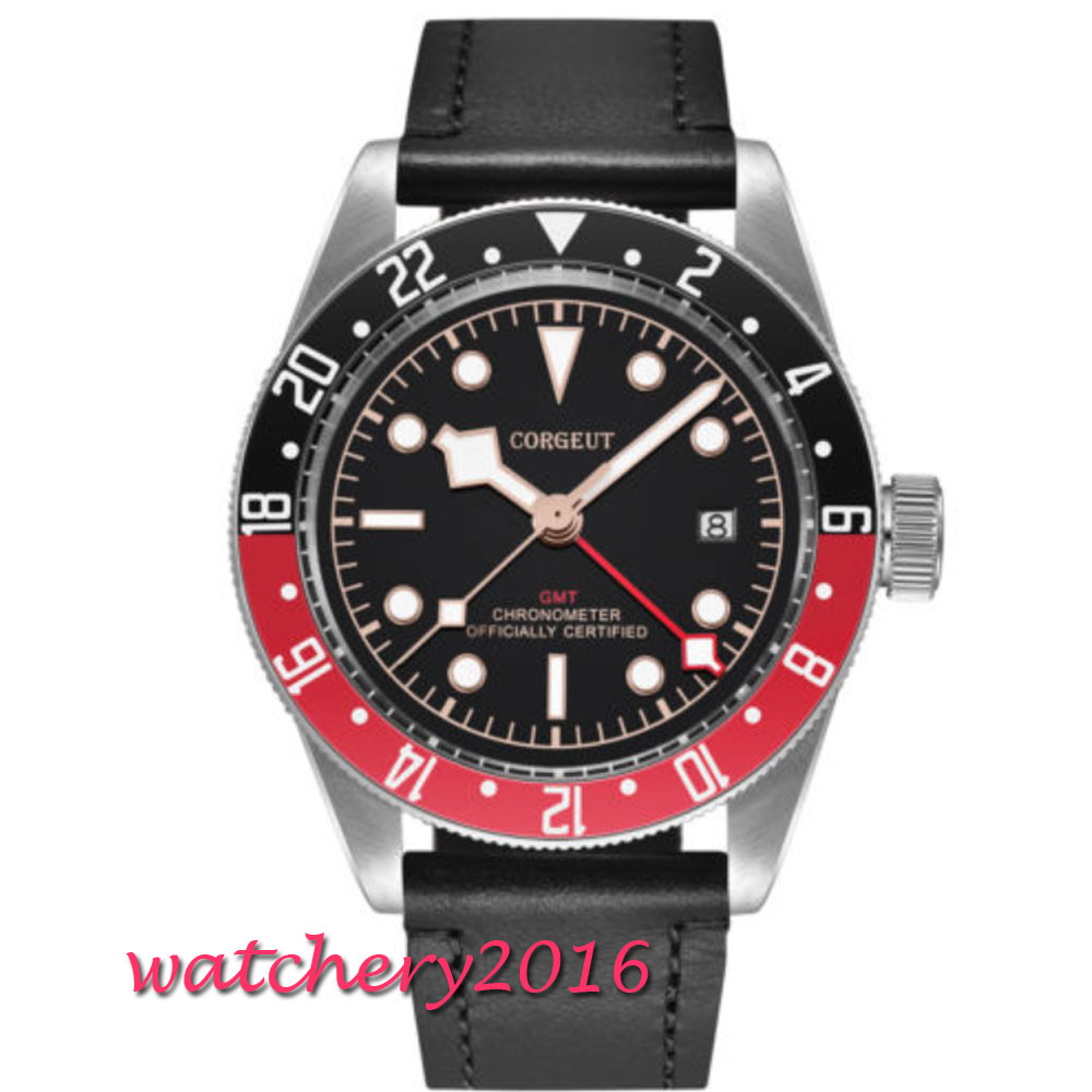 41mm Corgeut Automatic Watch GMT Clock Sapphire Glass LUME Mechanical Watches Classic Men Watch Top Brand Luxury Gifts for Men цена и фото