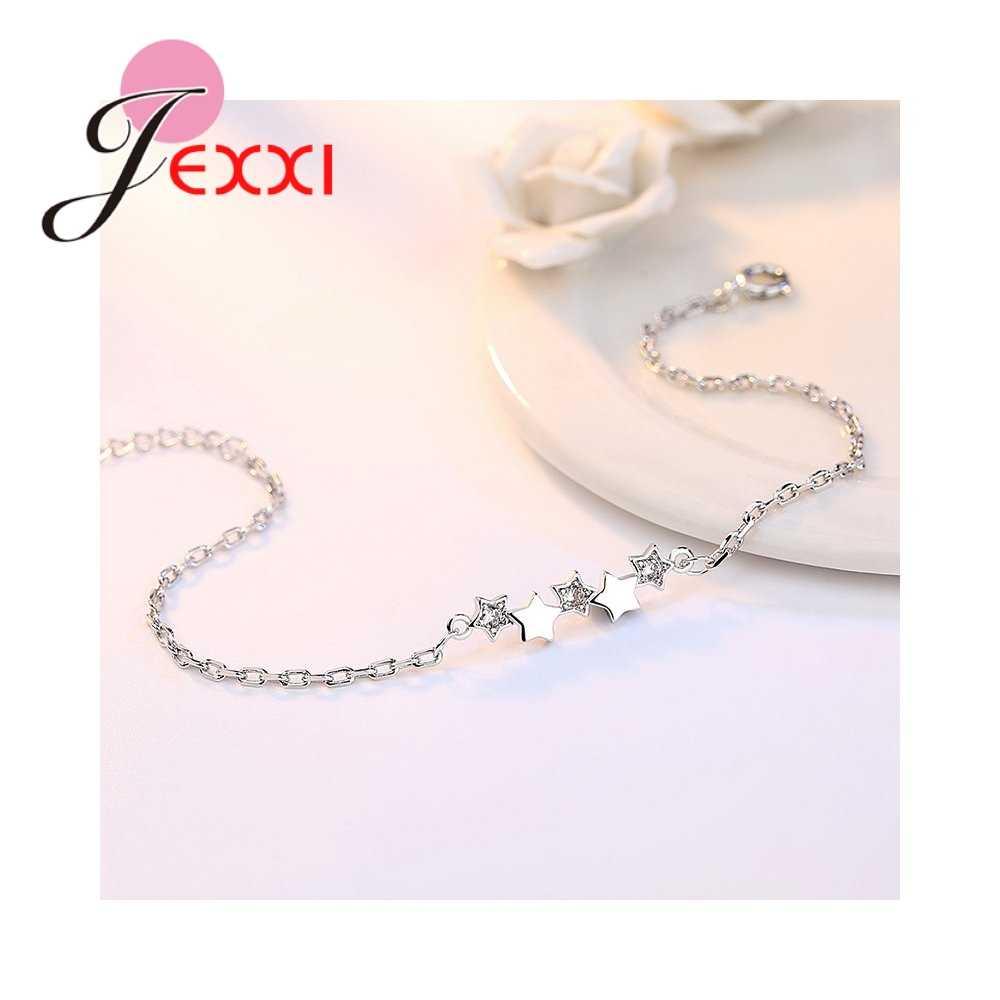 Einfache Eleganz Sterne Design Gepflastert Strass 925 Sterling Silber Armbänder Für Frauen Femme Engagement Party Schmuck