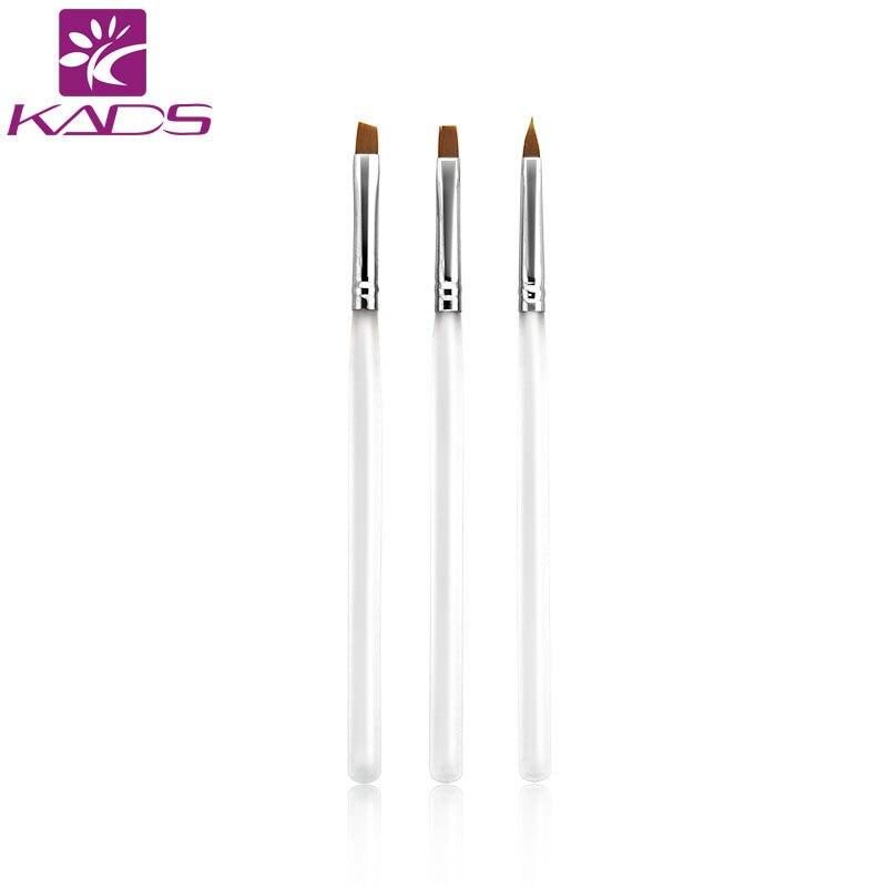 Kads 3pcsset White Professional Nail Art Brush Nail Painting Tool