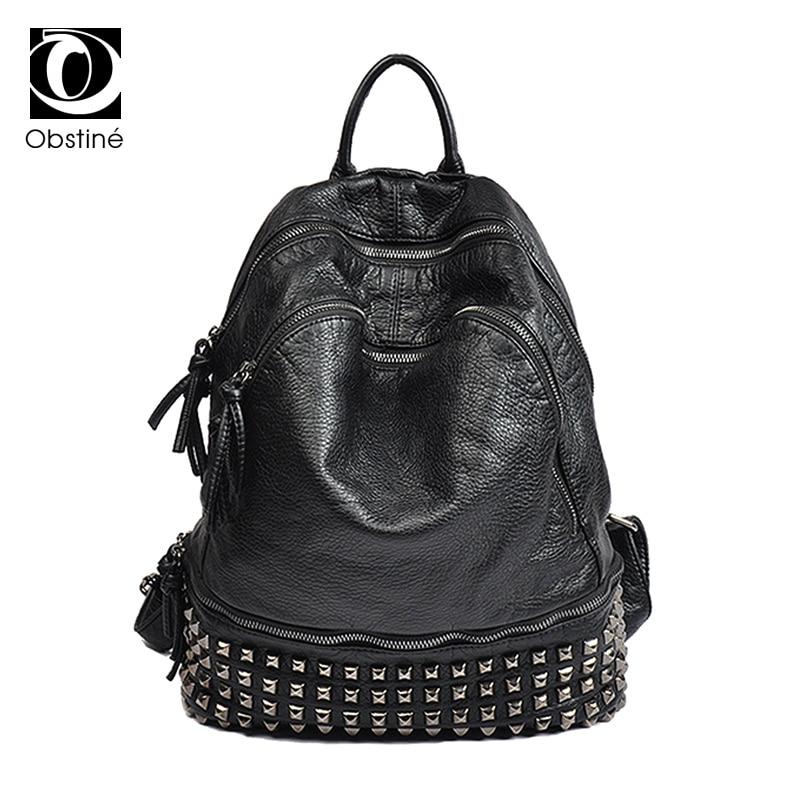 Moda PU Leather Rivet Plecak Kobiety Duża Pojemność Panie Biały Plecaki Torby Szkolne dla Dziewcząt Czarny Zipper Bagpack Kobiet w Plecaki od Bagaże i torby na  Grupa 1