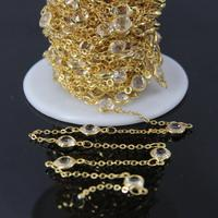 6mm Size,Clear Crystal Glass Faceted Coin Beaded Chain,Round cut slice Glass link Gold Plating Wire Wrapped Rosary Chain