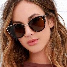 2019 nuevo diseñador De la marca ojo gato gafas sol las mujeres Metal Vintage para espejo Retro Lunette D
