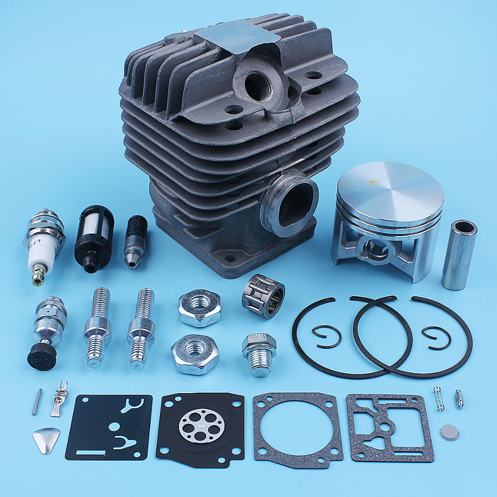 50mm Cylinder Piston 12mm Pin Carb Repair Kit For Stihl MS440 044 MS 440  Chainsaw Bar Stud Nut Decompression Valve Spare Parts