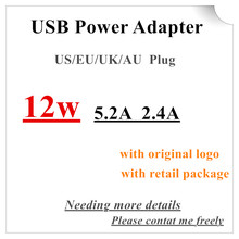 20pcs/OEM AAAAA EU US AU UK plug A1401 12W USB Power Adapter AC home Wall Charger 5.2v 2.4A For iPhone iPad With Retail box(China)