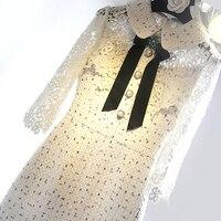 Новые весенне летние белое кружевное платье сине зеленая бабочка пряжки весной и летом талии платье.
