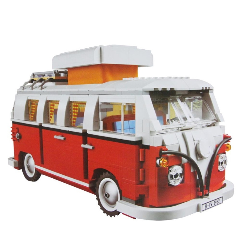 Lepin 2017 21001 Technic Series Volkswagen T1 Camper Van Model Building Toys For Children Compatible with 10220 telecool led light building blocks toy only light set for creator series the t1 camper van model lepin 21001 and brand 10220