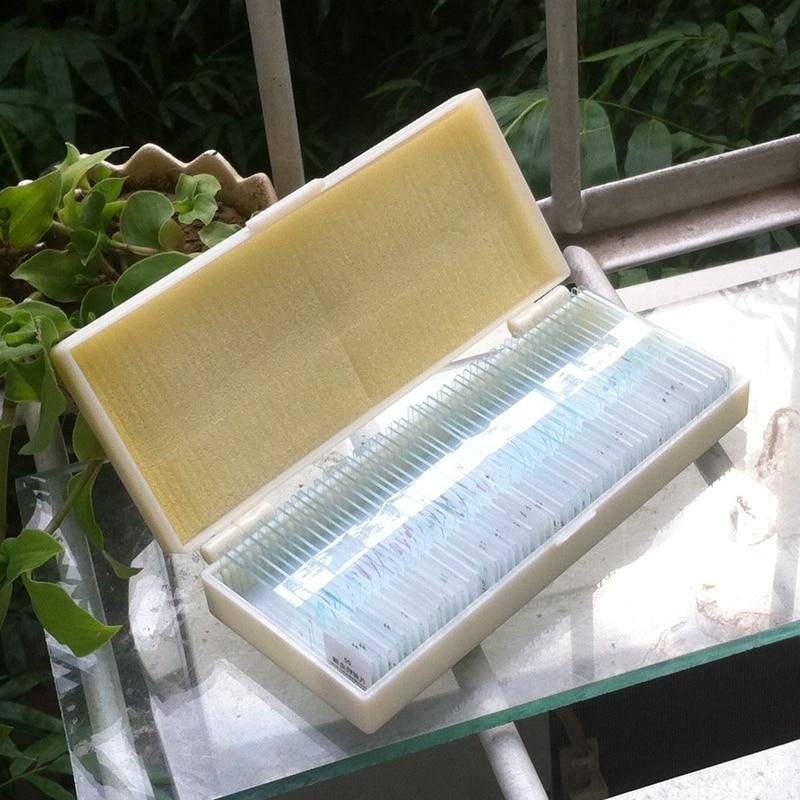 ФОТО Professional Biologic Specimen Slides 50 PCS Prepared Glass Biological Microscope Slides with Plastic Case