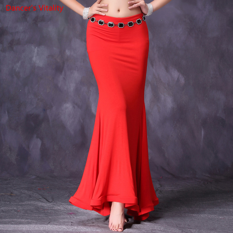2018 New Women Belly Dance Practice Long Skirt Sexy Modal Belly Dance Training Wear Belly Dance Mermaid Skirt