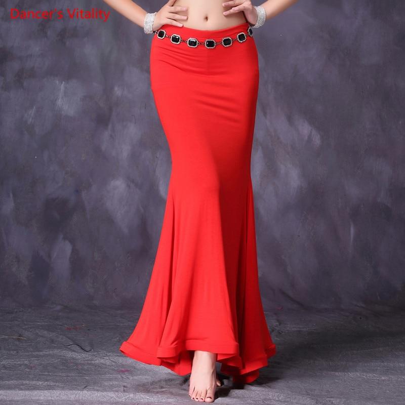 2018 New Women Belly Dance Practice Long Skirt Sexy Modal Belly Dance Training Wear Belly Dance Mermaid Skirt