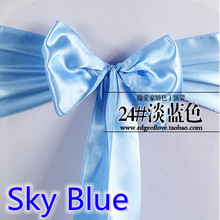 Sky blue colour high quality satin sash chair bow for chair covers sash spandex party and wedding decoration wholesale(China)