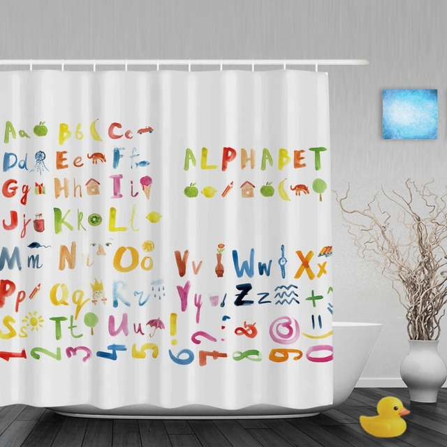 Oil Painting Animals Alphabet Letters Kids Shower Cutains Baby ...