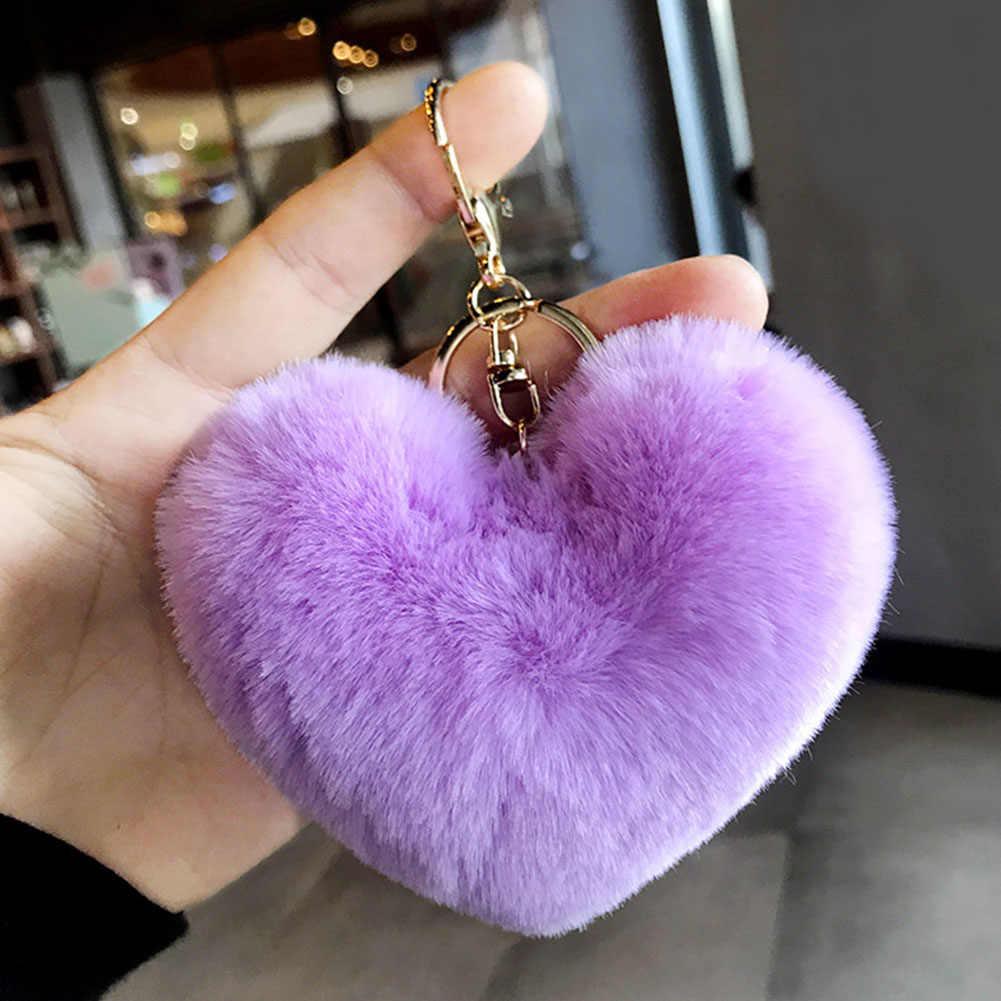 Lovely Fluffy Fur pompom Keychain Soft Heart Shape Pompon  Key Chain faux Rabbit Fur Pom Poms Ball Car Kay Ring Gift