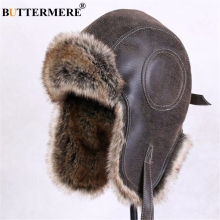 BUTTERMERE Winter Hats For Men Women Brown Ear Flaps Leather Russian Winter Hat Ushanka Bomber Trapper Hat Male Fur Snow Caps
