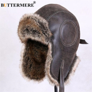 Image 1 - BUTTERMERE Winter Hats For Men Women Brown Ear Flaps Leather Russian Winter Hat Ushanka Bomber Trapper Hat Male Fur Snow Caps