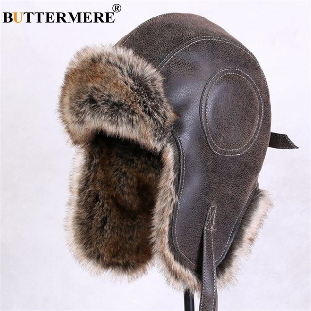 3b691bf93b2b3 BUTTERMERE Winter Hats For Men Women Brown Ear Flaps Leather Russian Winter  Hat Ushanka Bomber Trapper Hat Male Fur Snow Caps
