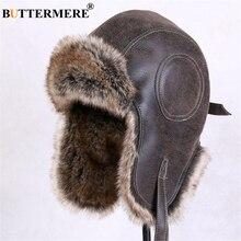 BUTTERMERE, sombreros para invierno para hombres y mujeres, piel marrón con solapas, gorro de invierno ruso Ushanka, cazadora, sombrero para hombre, piel para nieve