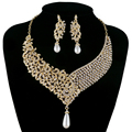 Gold Metal Plated necklace earrings Bridal Wedding jewelry sets Women Party Jewelry accessories rhinestone pearl fashion jewelry