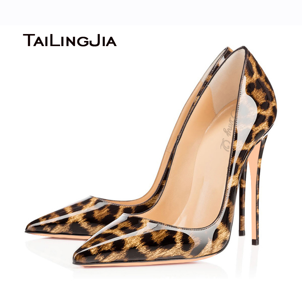 2016 Sexy font b Women b font Leopard Patent Leather Pointy Evening Dress Pumps High Heels