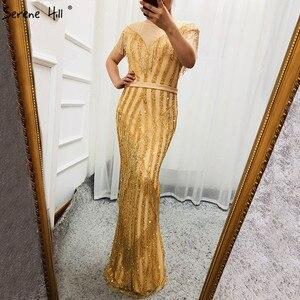 Image 4 - Новинка 2020 роскошные золотистые вечерние платья без рукавов с юбкой годе модные элегантные блестящие вечерние платья с бахромой и бисером LA6543