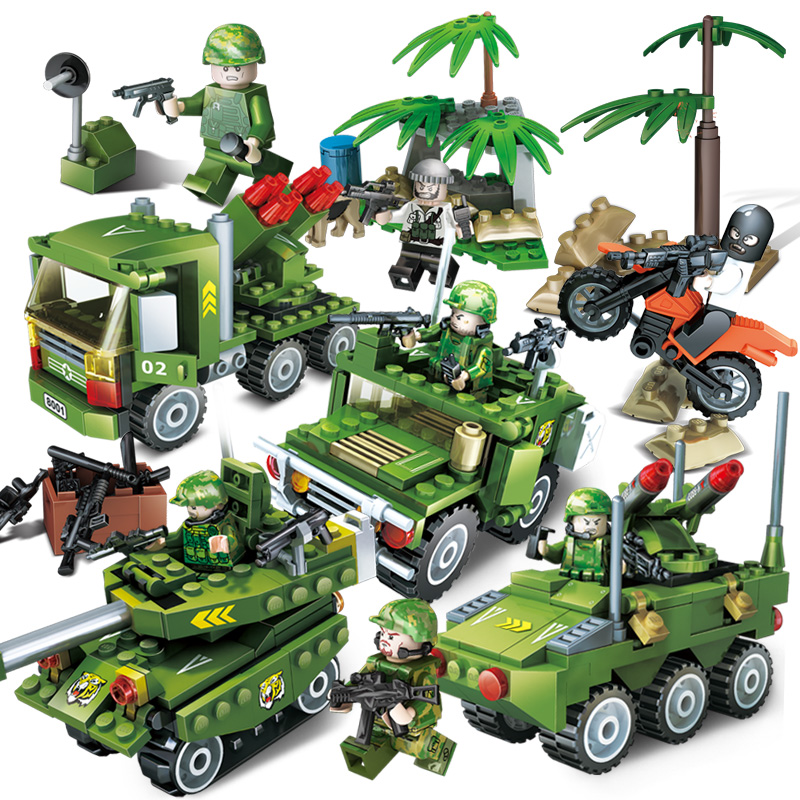 GUDI Military Artillery Police Dog Tank Tornado Storm Soldiers Gun Chase Action Model Building Block Set DIY Toys For Kids Gifts kaygoo building blocks aircraft airplane ship bus tank police city military carrier 8 in 1 model kids toys best kids xmas gifts