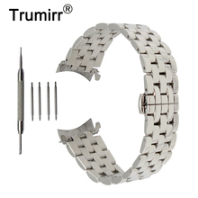 18mm 20mm 22mm 24mm Stainless Steel Watch Band Curved End Strap for Hamilton Watchband Butterfly Buckle Wrist Belt Bracelet