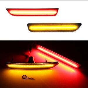 Image 4 - IJDM dla samochodów Mustang LED bursztynowe/czerwone pełne boczne światła sygnalizacyjne dla 2010 2014 Ford Mustang przednie i tylne lampy LED sidemarker 12V