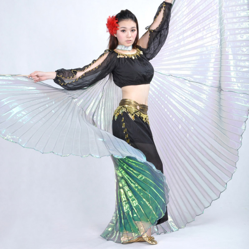 Elegant Iridescent <font><b>Isis</b></font> <font><b>Wings</b></font> with Holding Stick Belly Dancing Costume Supplies Props Dance Dress Bellydance Costume vestidos image
